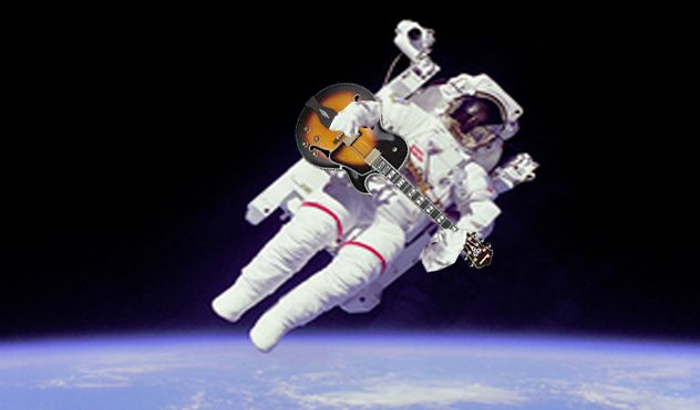 Guitar playing astronaut